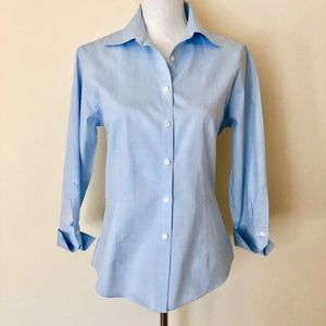 Brooks Brothers Fitted Non Iron Dress Shirt Blue